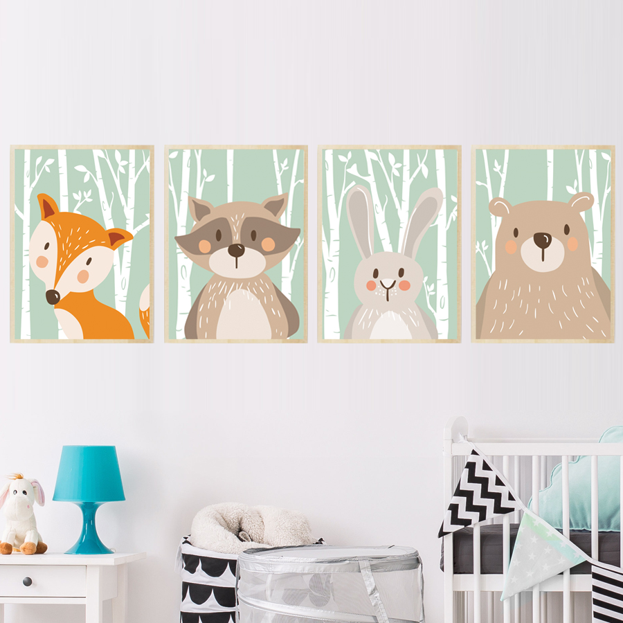 Forest Cute Animals Canvas Painting Art Print Poster For Nursery Wall Picture Kids Baby Room Home Decor Fox Rabbit Bear Giraffe Alley Corner Nordic Wall Decor Home Decor